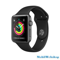 Apple Watch Series3 42mm Aluminium Silver Plastic Sport Band Pure Platinum Black MQL32